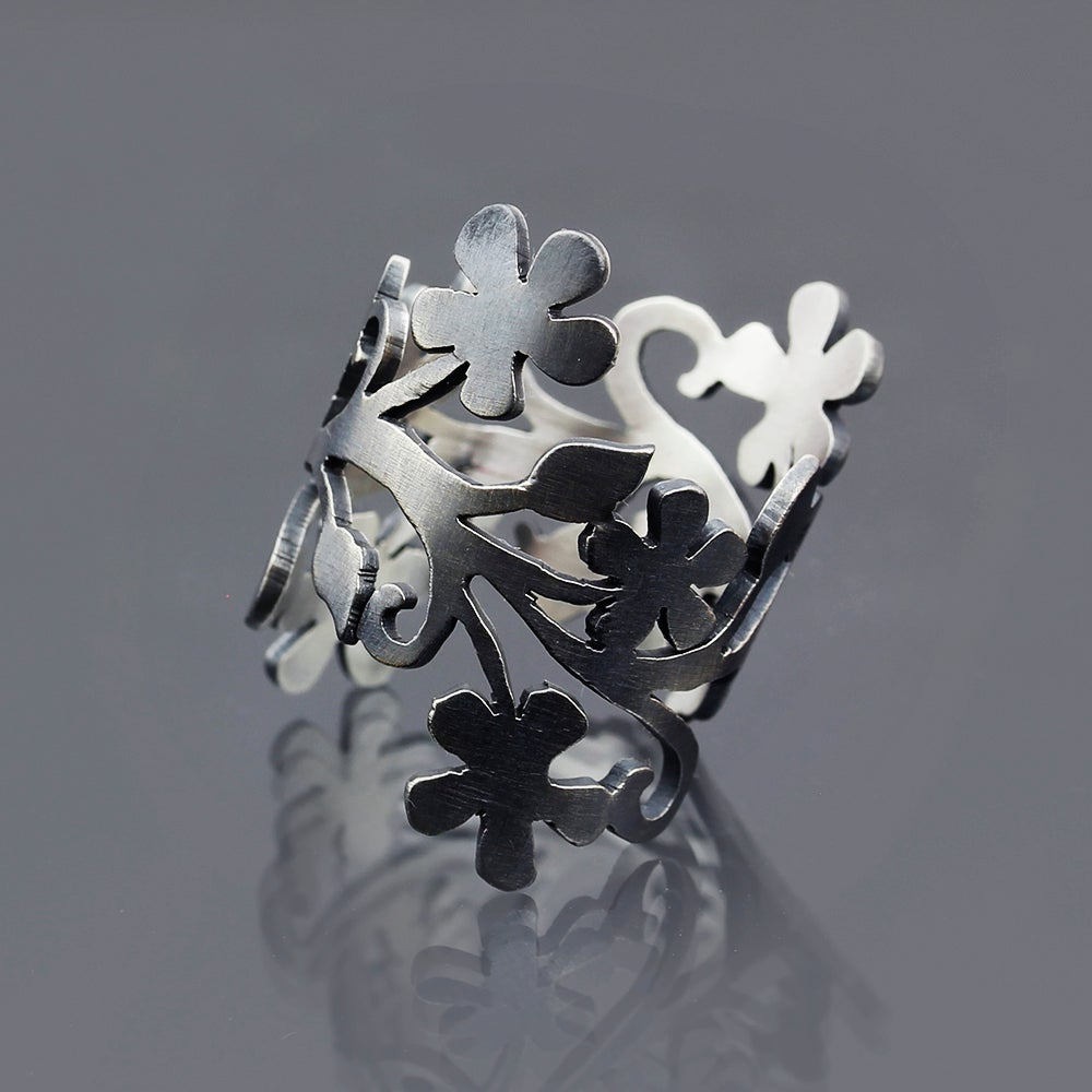 Image of Oxidized Silver Floral Branch Ring