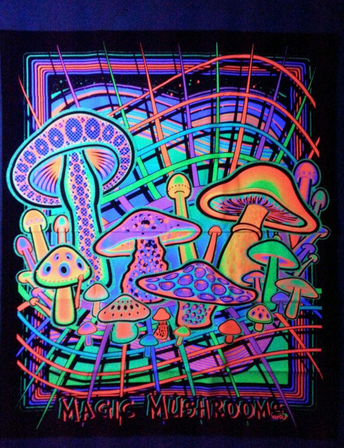 magic mushrooms blacklight reactive tapestry wake and bake coffee mugs