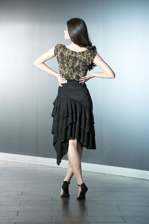Image of Latin Flamenco Skirt - Black or CHOCOLATE (J1810) Dancewear latin ballroom
