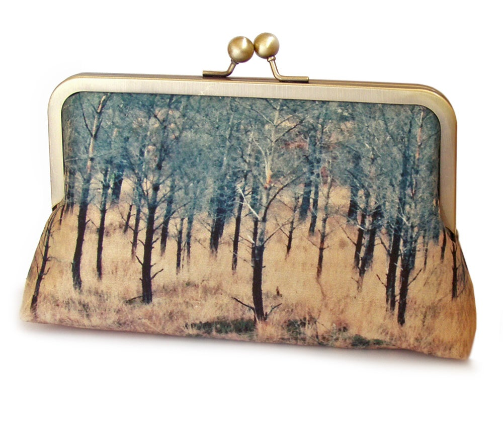 Image of Scottish woods clutch bag, printed silk purse, Torridon trees
