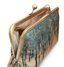 Image of Woodland pines clutch bag, printed silk purse