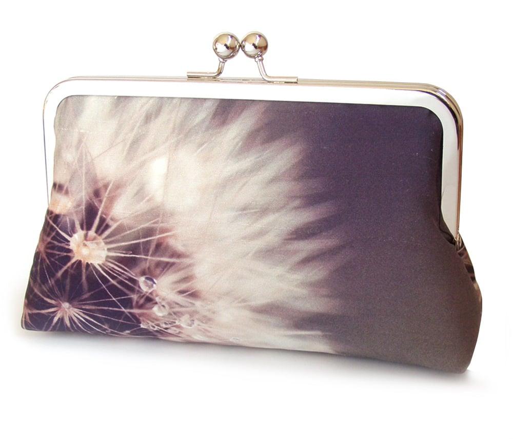 Image of Purple dandelion clocks purse, silk clutch bag