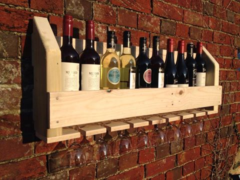 Image of Rustic Handcrafted Wine and Glass rack