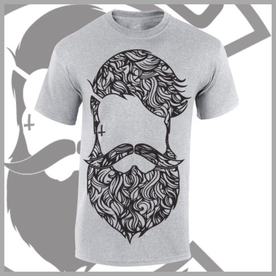 Image of Grey Beard & Ink Large Patterned Logo Tee