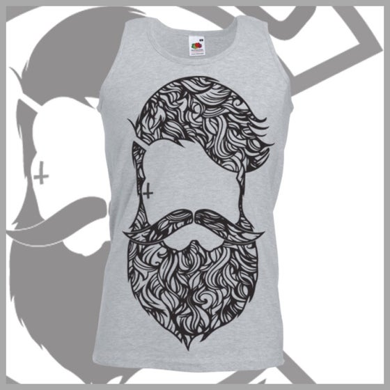 Image of Grey Beard & Ink Large Patterned Logo Vest