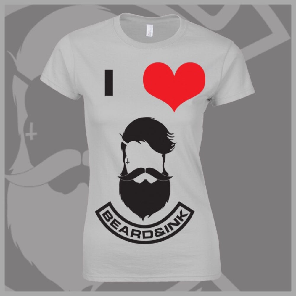 Image of Grey I ❤️ Beard & Ink Front Logo Tee