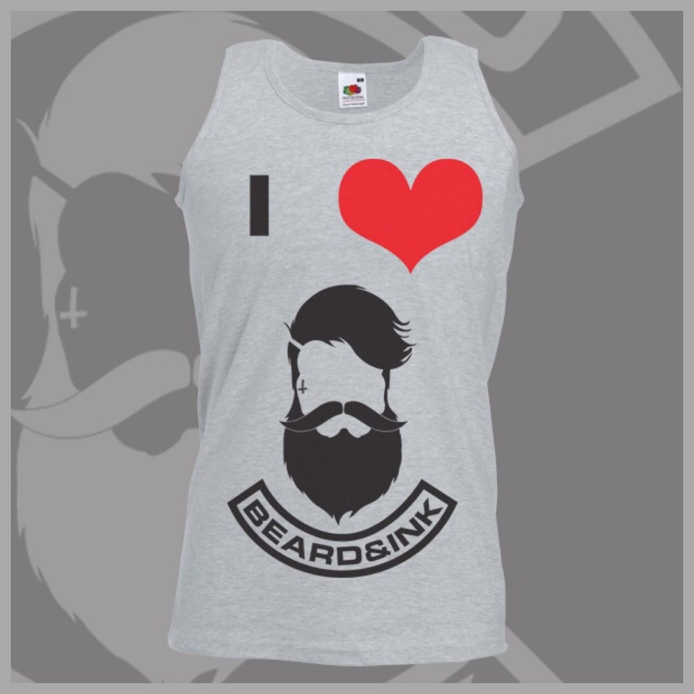 Image of Grey I ❤️ Beard & Ink Front Logo Vest