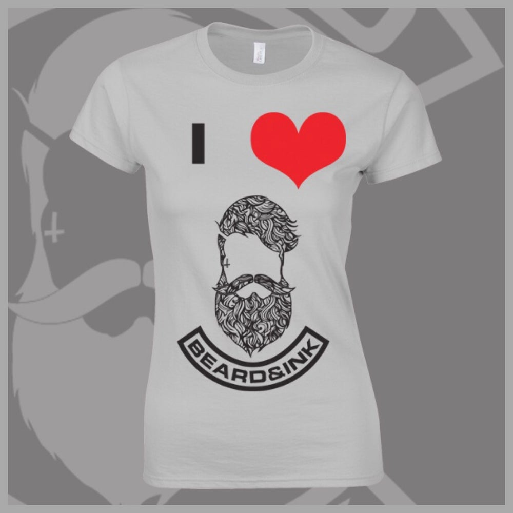 Image of Grey I ❤️ Beard & Ink Patterned Logo Tee