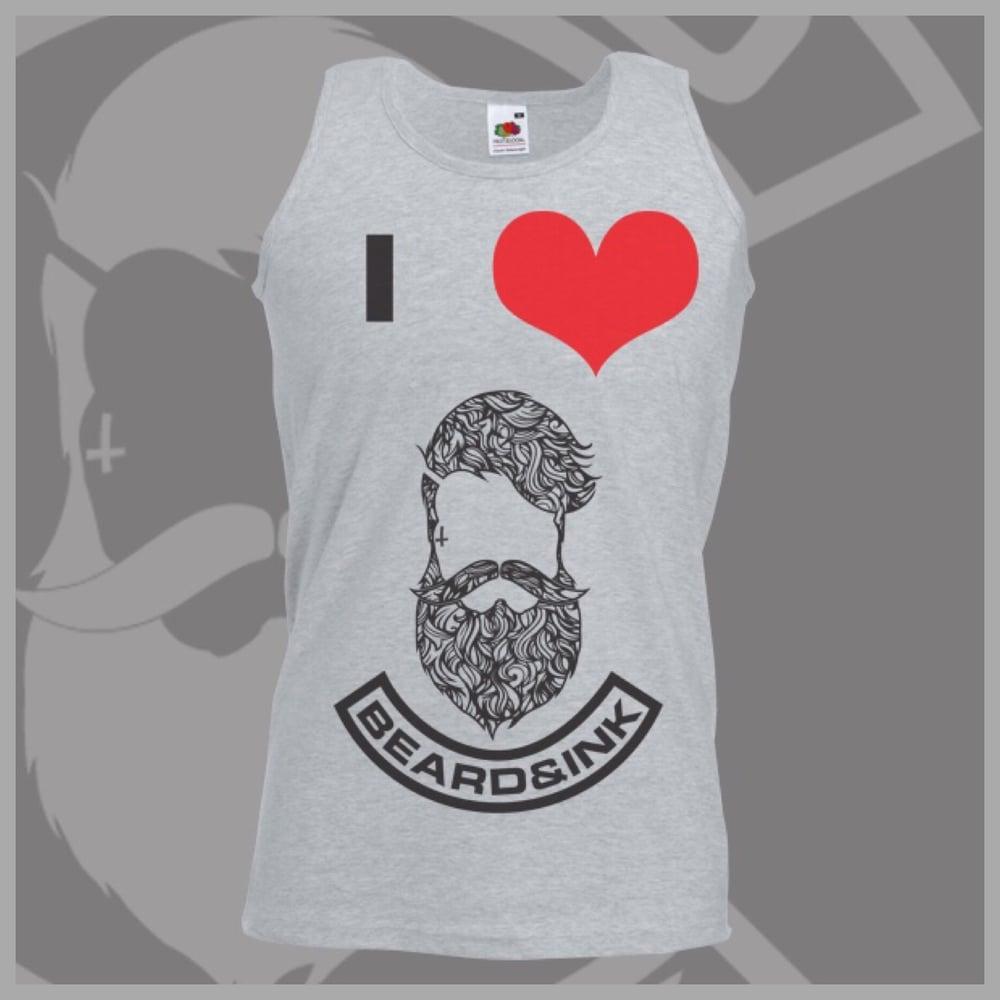 Image of Grey I ❤️ Beard & Ink Patterned Logo Vest