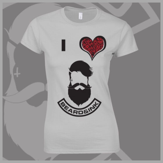 Image of Grey Bearded I ❤️ Beard & Ink Front Logo Tee