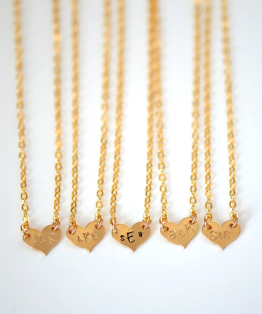 Image of Personalized Heart Necklace - Small Gold Heart Necklace - Couple's Necklace - New Mom Necklace -