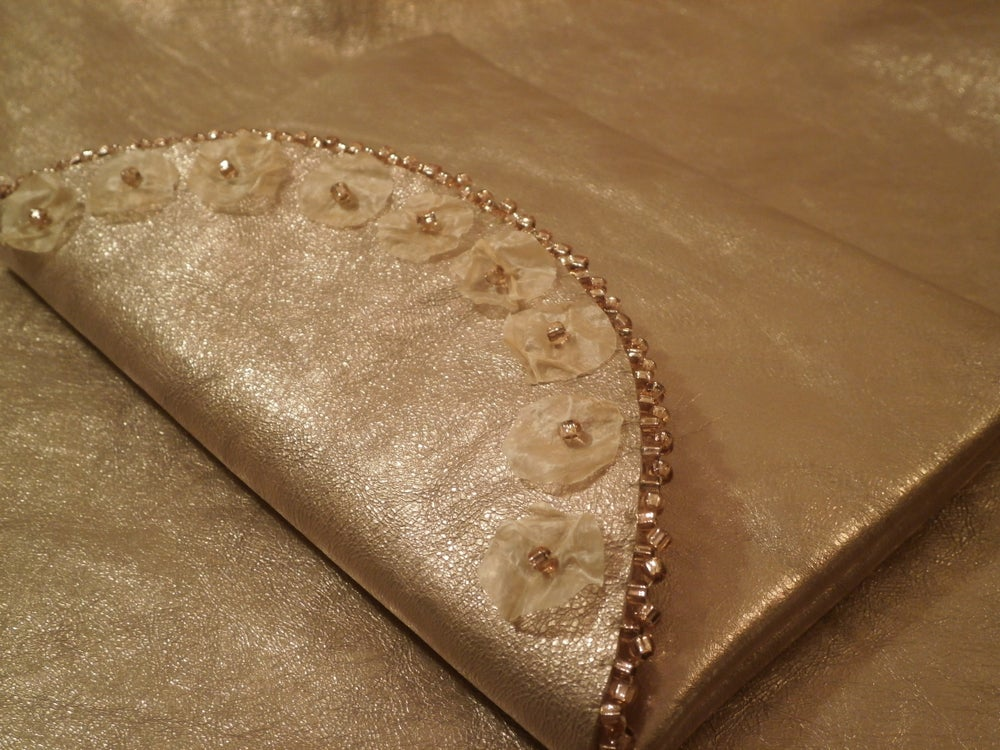 Image of Sealgut and Champagne Leather Beaded Clutch
