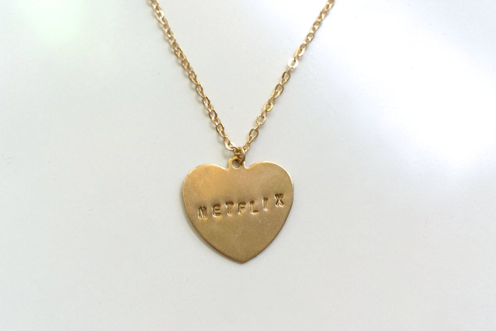 Image of Hand-Stamped Television Necklace (Originally $26)