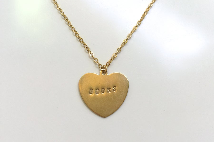 Image of Hand-Stamped Books Necklace (Originally $26)