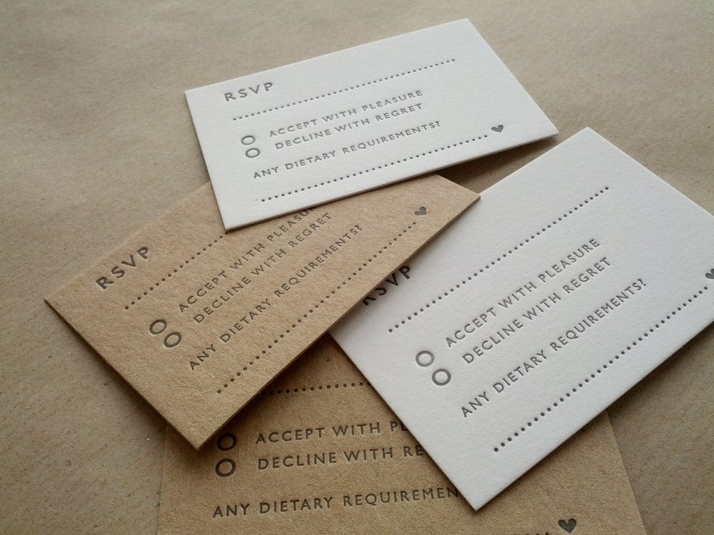 Image of RSVP cards - Letterpress printed wedding stationery, personalised, 85x55mm