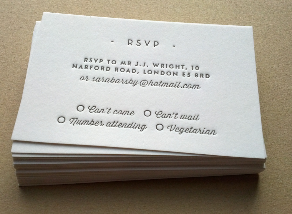 Letterpress business cards and wedding invitations maple tea image of rsvp cards letterpress printed wedding stationery personalised 85x55mm reheart Images