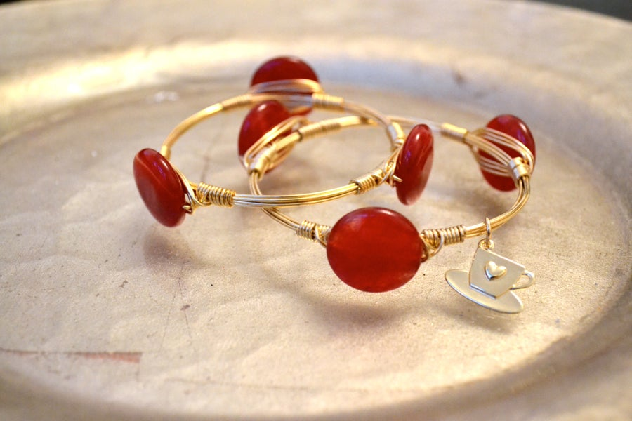Image of Red Agate button Bangle