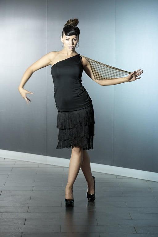 Image of Slash Top - Dots (E6663) Dancewear latin ballroom