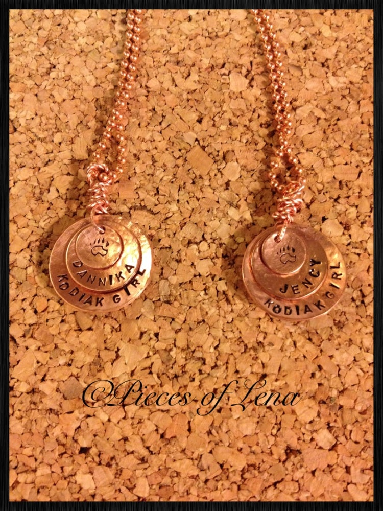 Image of Bear Paw Personalized Copper Pendant