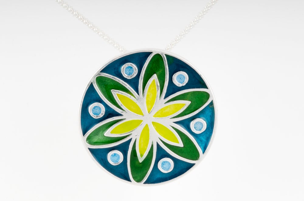 Image of Resinate Sterling Silver Mandala Pendant: Cools