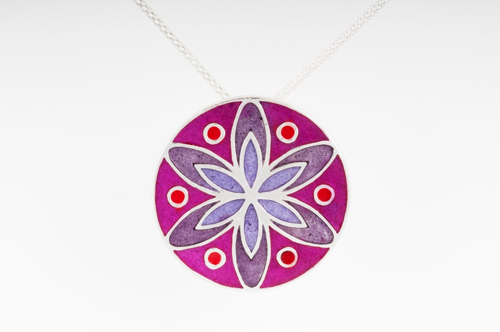 Image of Resinate Sterling Silver Mandala Pendant: Pinks