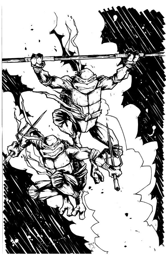 Image of Don and Raph jumping around like a couple of psychos