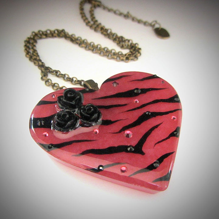 Raspberry Zebra Stripe Resin Heart Pendant ON SALE - WAS £14 NOW £10