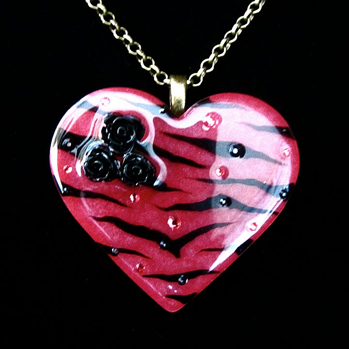 Image of Raspberry Zebra Stripe Resin Heart Pendant