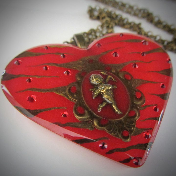 Image of Red Zebra Cameo Resin Heart Pendant