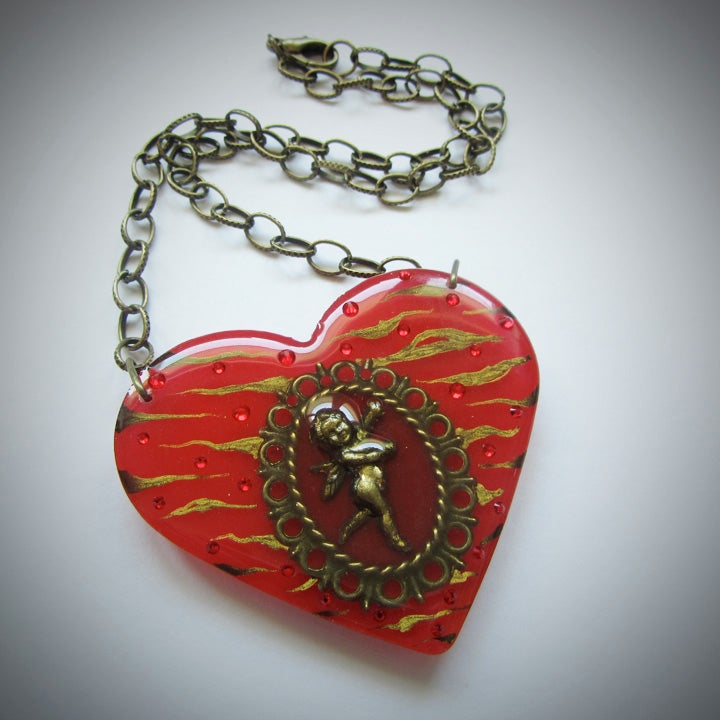 Red Zebra Cameo Resin Heart Pendant - ON SALE - WAS £15 NOW £10