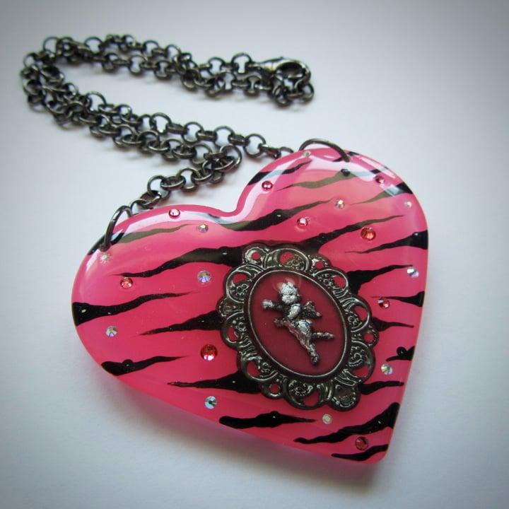 Image of Hot Pink Zebra Cameo Resin Heart Pendant