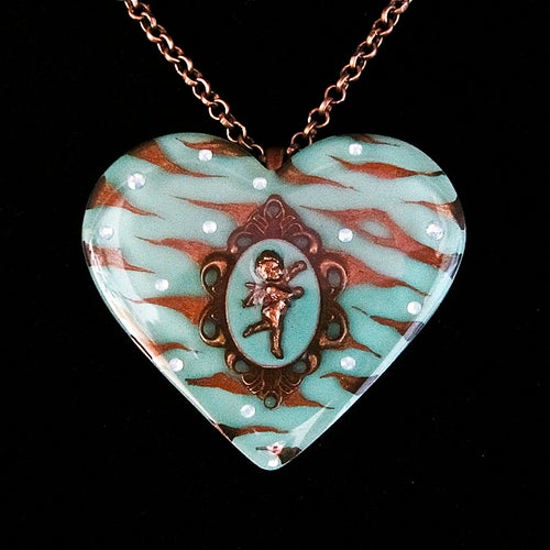 Image of Mint Zebra Cameo Resin Heart Pendant
