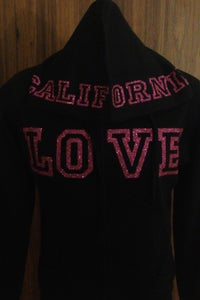 Image of Ladies - California Love zip up hoody Hot pink glitter