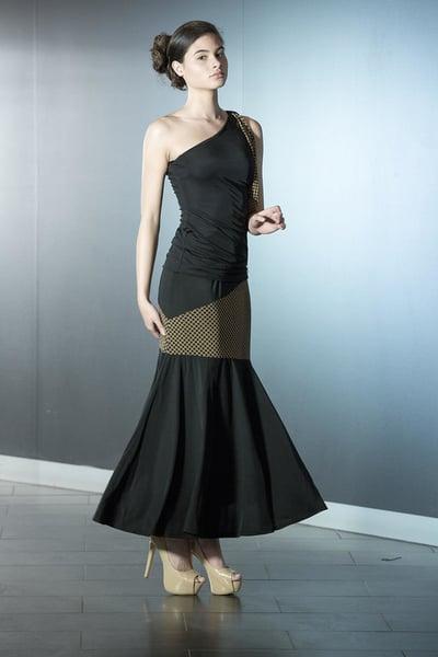Image of Asymmetric Ballroom Skirt Dots or Mist (J6666)