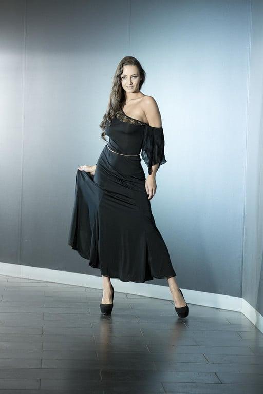 Image of Asymmetric Pleat Sleeve Top (E1291) Dancewear latin ballroom