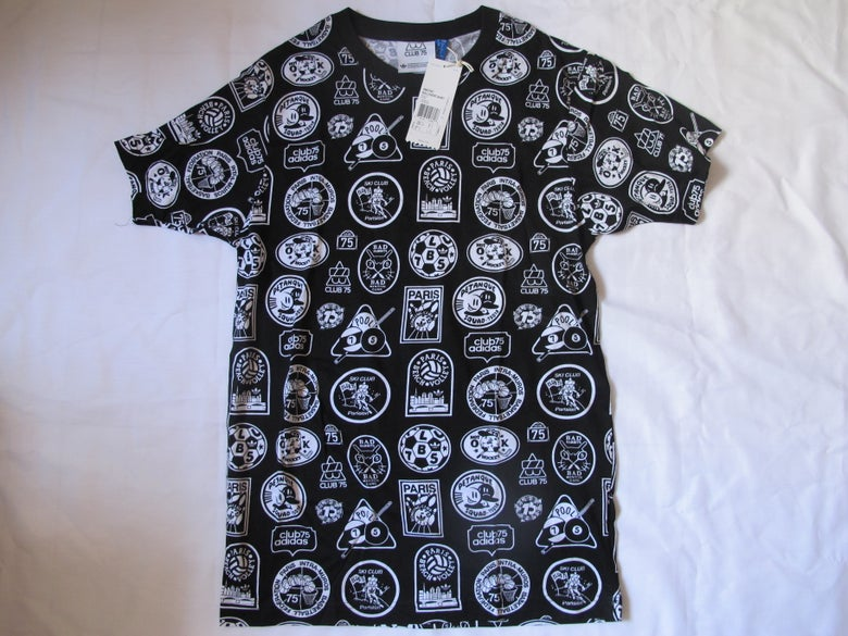 Image of Adidas x Club75 - All Over Logo Tee (Black)