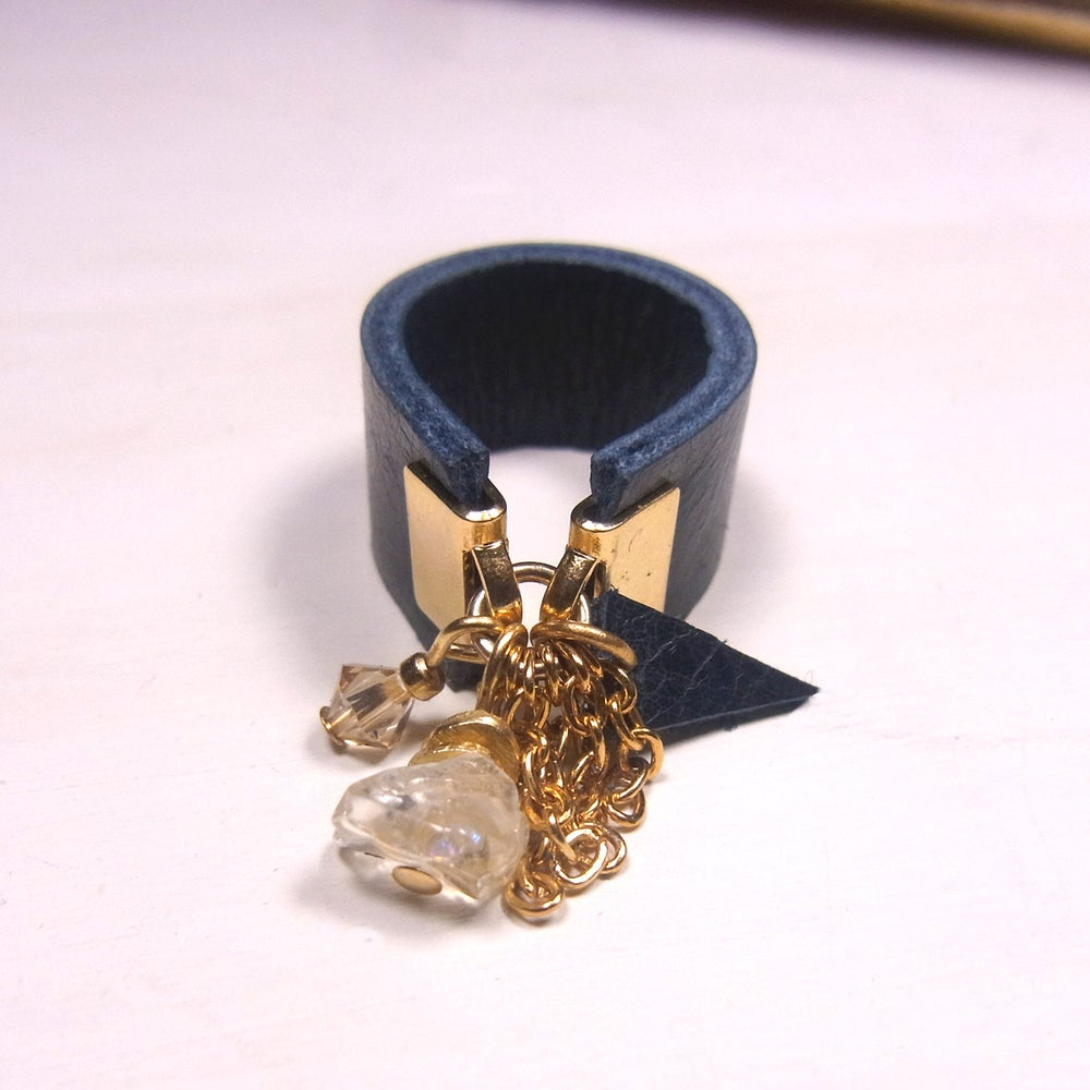 Image of Citrine and blue Hot Chip  - wide band ring