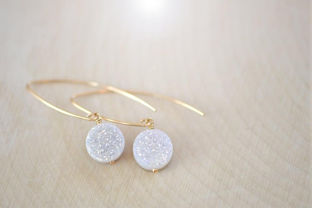 Image of AB White Druzy Earrings - Dangling Druzy Earring - Titanium Drusy Quartz
