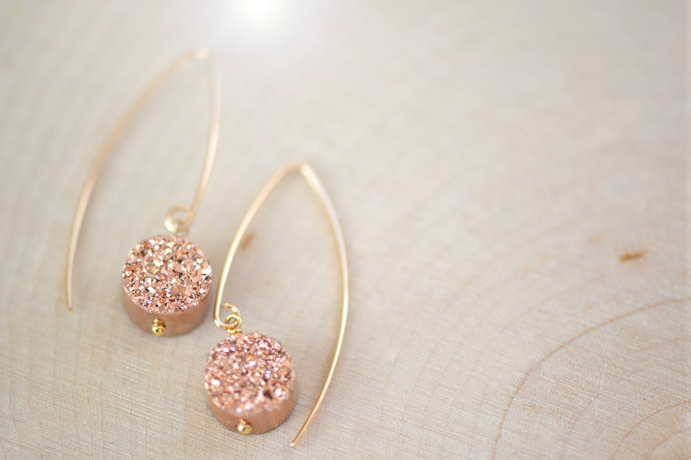 Image of Rose Gold Druzy Dangling Earrings - Druzy Earrings - Titanium Drusy Quartz