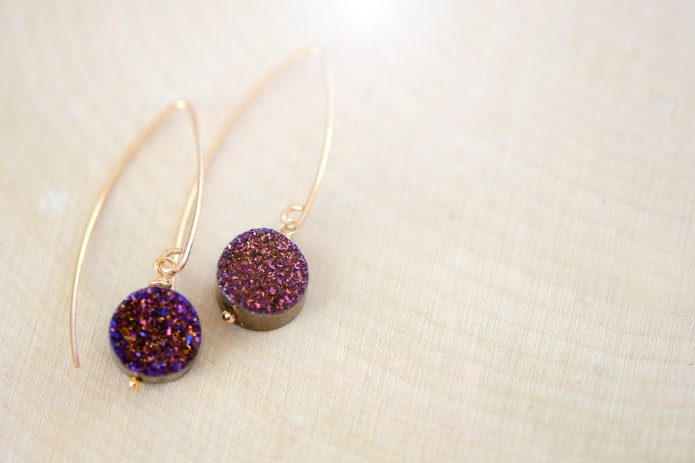 Image of Purple Druzy Dangling Earrings - Druzy Earrings - Titanium Drusy Quartz