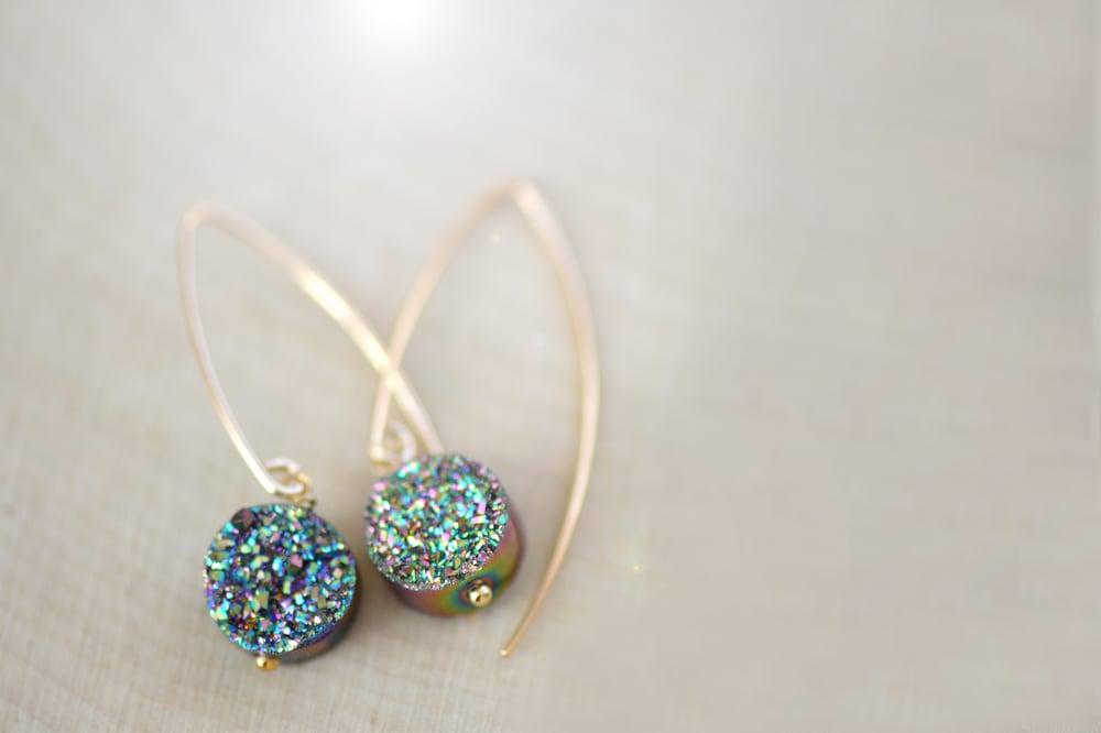 Image of Blue Green Druzy Dangling Earrings - Druzy Earrings - Titanium Drusy Quartz