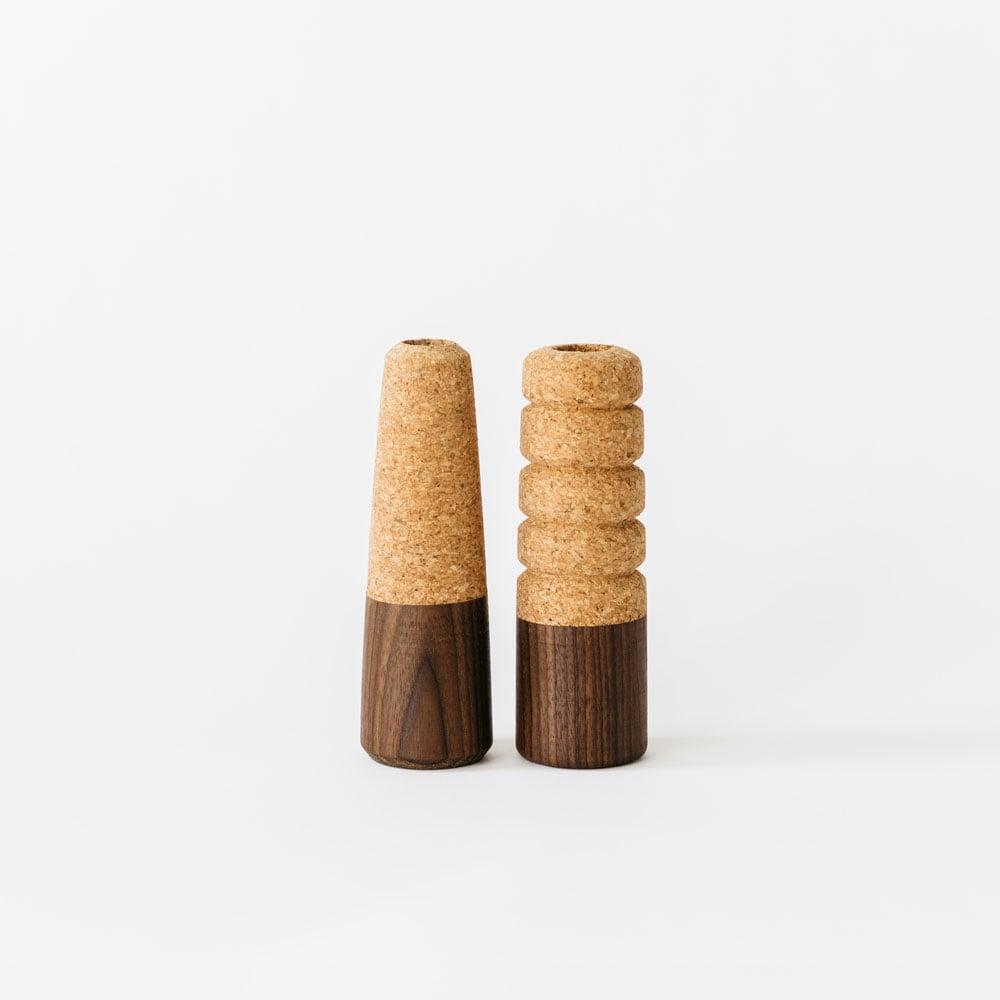 Image of Cork + Wood Candle Sticks