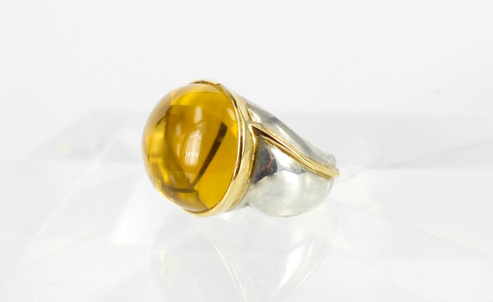 Image of Large yellow citrine cocktail ring