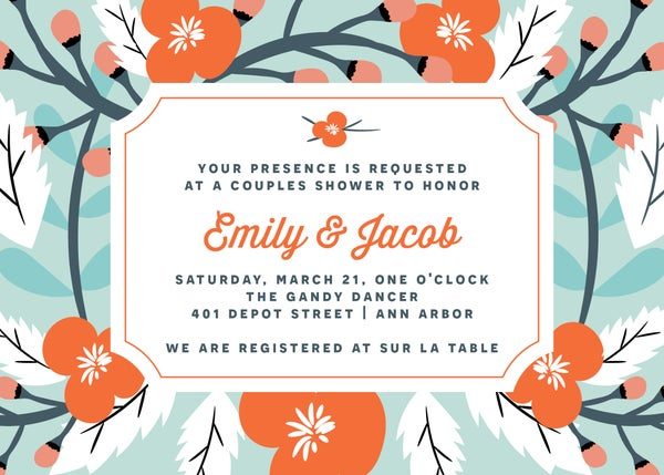 Image of Blue and Coral Flowers Shower Invitation