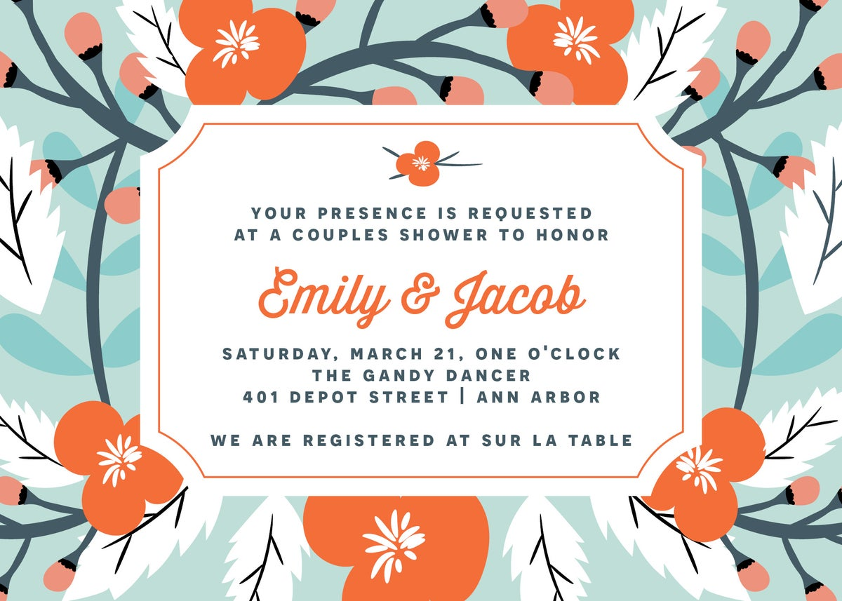 Blue and Coral Flowers Shower Invitation