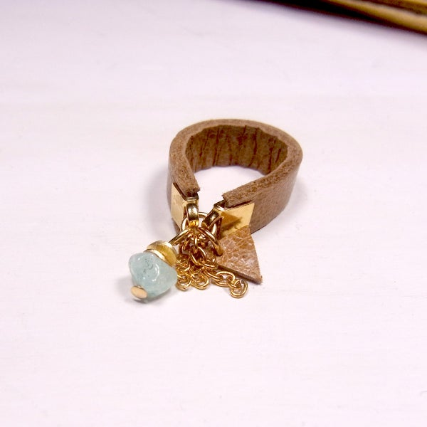Image of Amazonite and tan hot chip ring - slim band