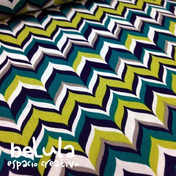 Image of Tela algodón patchwork: Chevron verdes