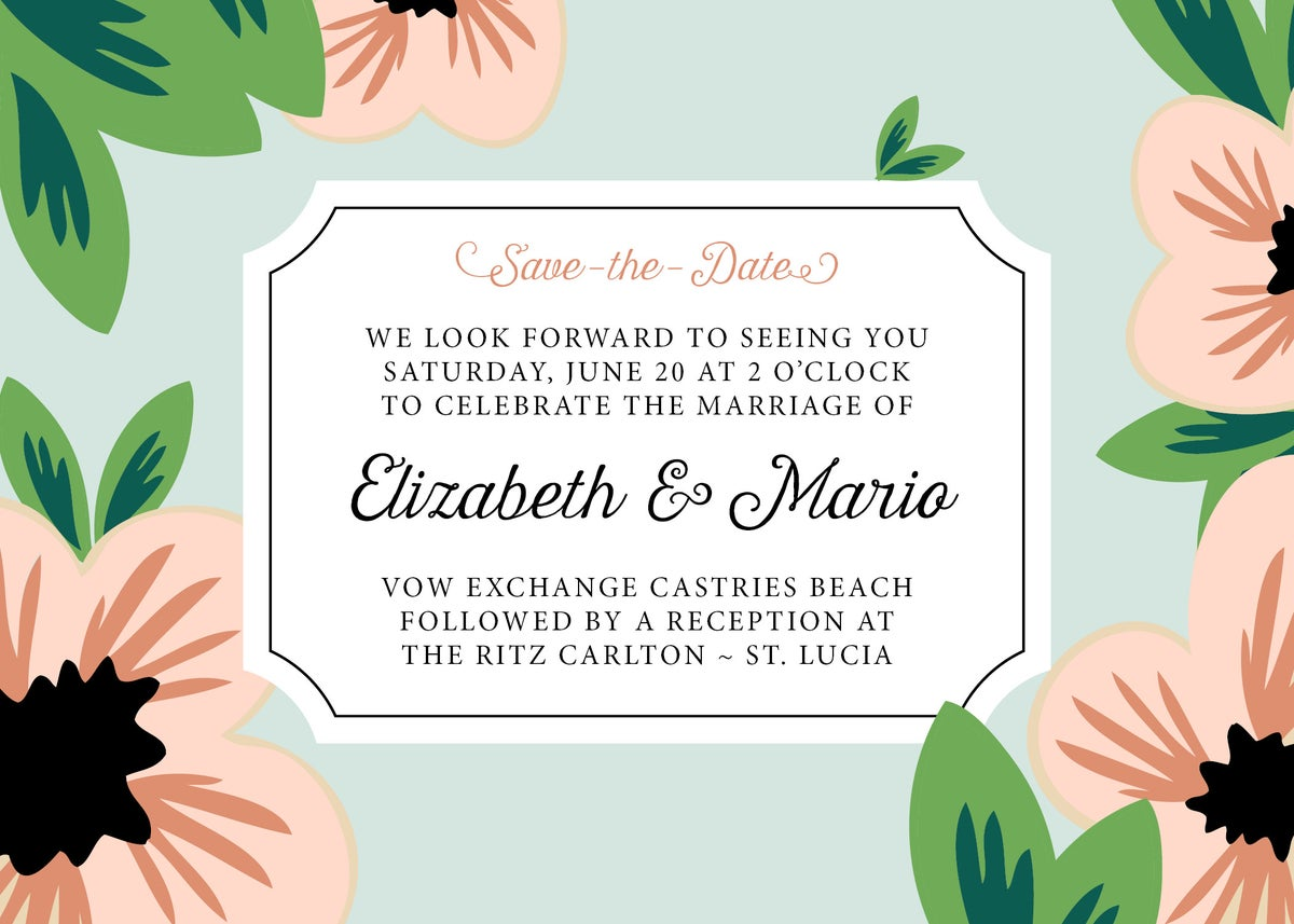 Tropical Flowers Save-the-Date Announcement