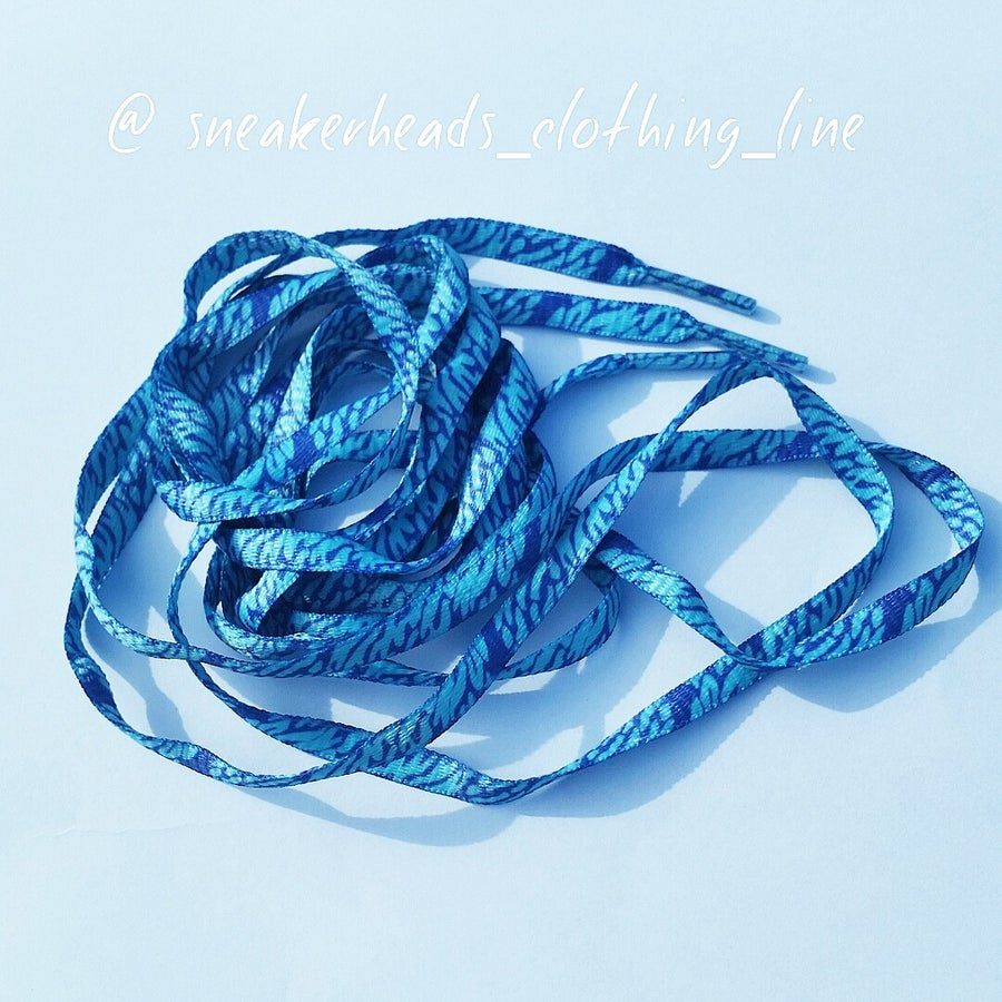 """Image of Exclusive """"Blue Wavy"""" LE Custom Laces"""