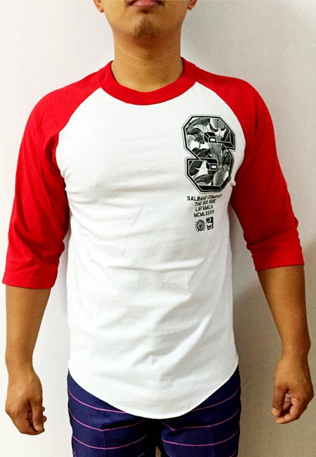Image of 6IX SIDE [RAGLAN] White/Red